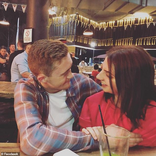 Matthew Agius (pictured, with his late girlfriend Casey Mallia) had tried to overtake a car along the Sturt Highway near Narrandera, in southern New South Wales, on December 21, 2018