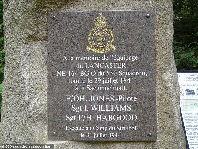 Memorial Stone for F/O H Jones, Sgt I Williams and Sgt F H Habgood who were killed