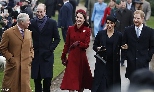 Prince William, 36, and Harry, 34, kept their hands rooted firmly in their pockets as they walked the path, separated by their wives, and didn't appear to look at each other as they walked