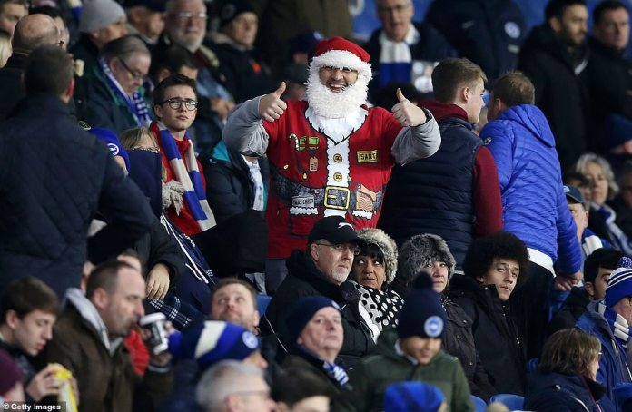 There was plenty of festive cheer in the stands as one Brighton supporter donned a Santa hat and jumper for the match