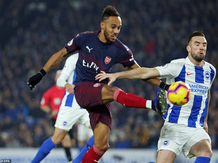 The Gabonese is full of confidence as his pace and power caused havoc for Brighton in the early stages at the AMEX stadium