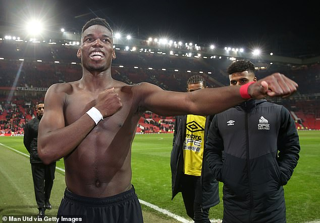 Paul Pogba took his shirt off and celebrated in front of the cameras after the victory