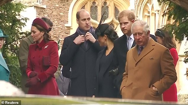Meghan seemed to turn to her brother-in-law to say something as they left church at Sandringham on Christmas morning, but William was more intent on fixing his scarfÂ