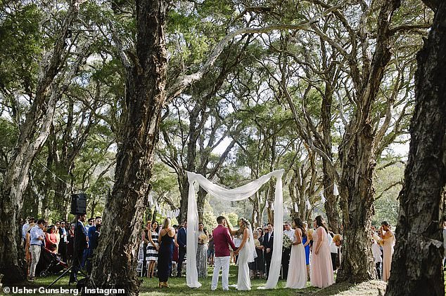 Wedding bells! The pair become engaged during a trip to Heron Island in January 2016, and tied the the knot later that year during a lavish three-day ceremony in New South Wales' Hunter Valley (pictured)