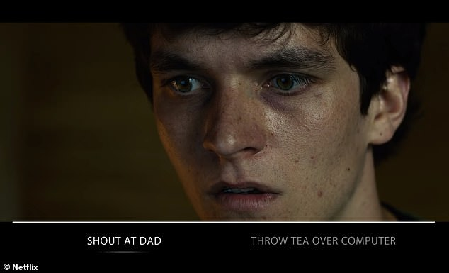 Screenshot from Bandersnatch. The episode lets viewers make a number of binary choice decisions to drive the story forward