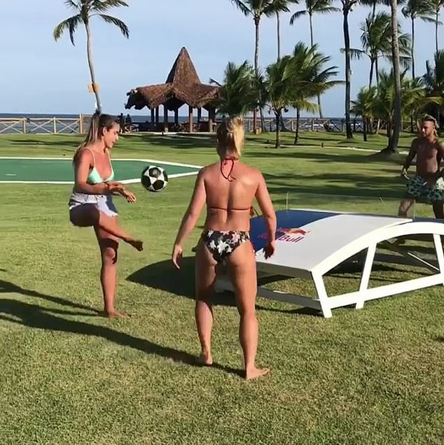 The Brazilian took on the Footvolley stars Natalie (left) and Bianca (right) on Monday afternoon