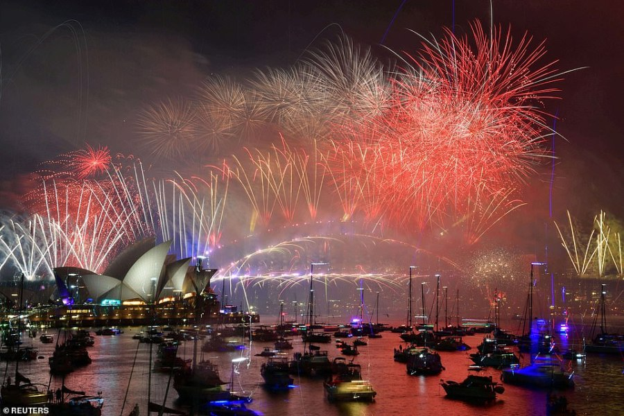AUSTRALIA: As the clock struck midnight fireworks exploded over Sydney's iconic Harbour Bridge and Opera House