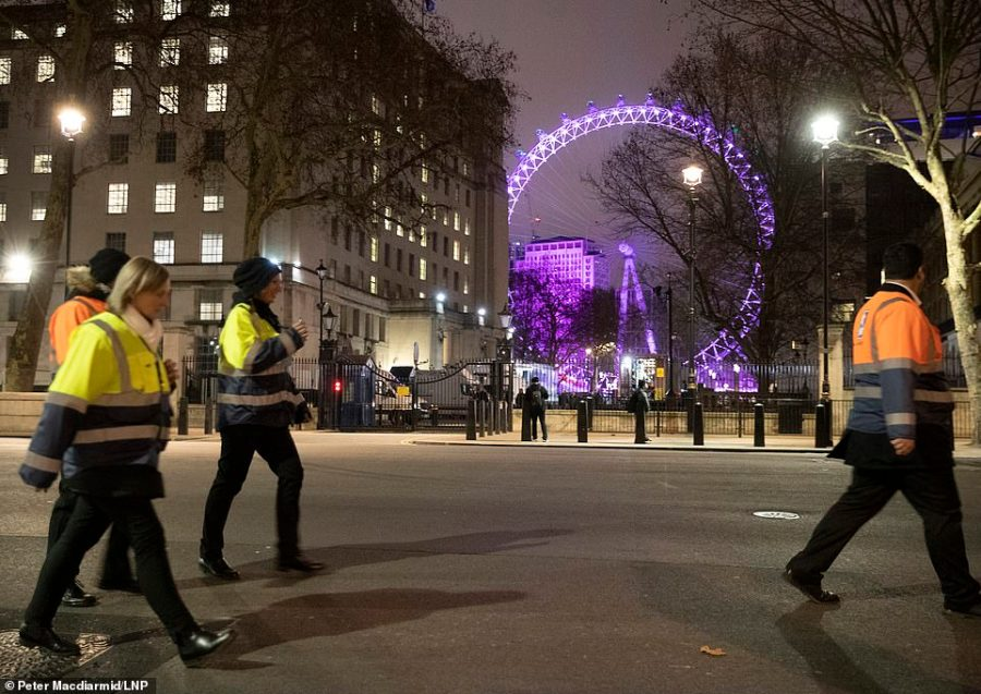The sight of the London Eye before the crowds arrive to celebrate New Year's Eve in central London. More than 100,000 people are attending London's ticketed fireworks display on the banks of the River Thames this evening