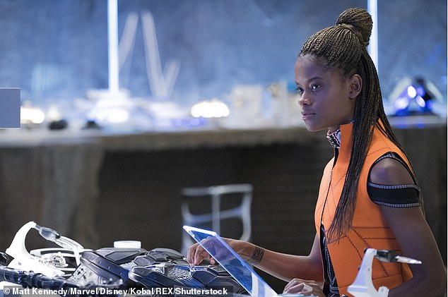 Shuri debut: Wright, 25, kicked off her year playing Jules Skateboarder in The Commuter in January, before playing the tech-savvy Shuri in Black Panther in February