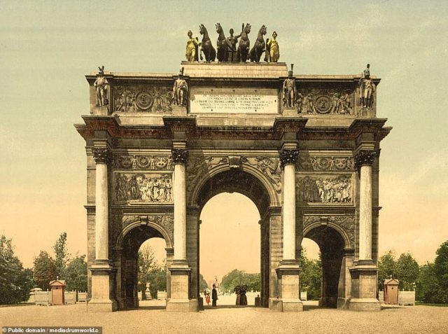 Arc de Triomphe, Paris. The French capital's most famous landmark aside from the Eiffel Tower, the Arc was commissioned by Napoleon in 1806 to celebrate his victories in Europe but political turmoil in France delayed its completion until 1836. The names of French victories and generals are inscribed in the monument. Since the earlier picture was taken it has also become a memorial to France's wars in the 20th century and an unknown warrior was buried underneath it in 1921