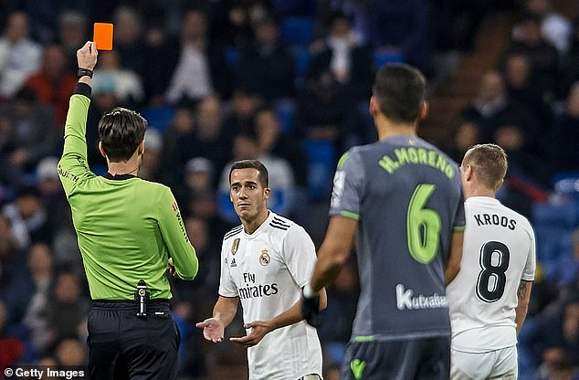 Lucas Vazquez was sent off after receiving a second booking for a foul on the superb Merino