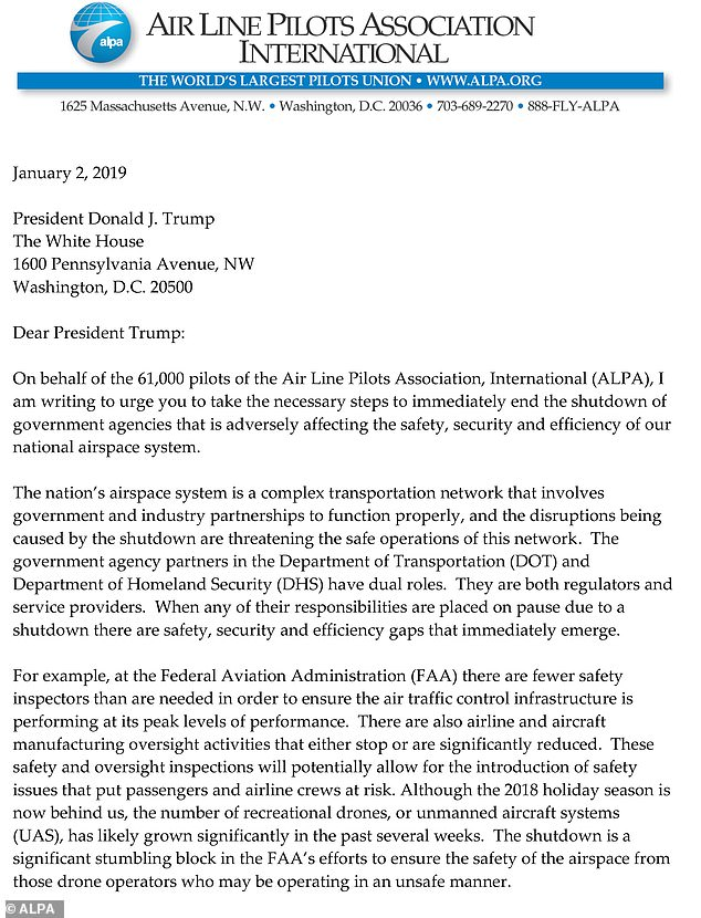 The Air Line Pilots Association, which represents more than 61,000 pilots from 35 U.S. and Canadian airlines, wrote a letter to the President warning that the continuing impasse was threatening 'the safety, security, and efficiency of our national airspace system.'