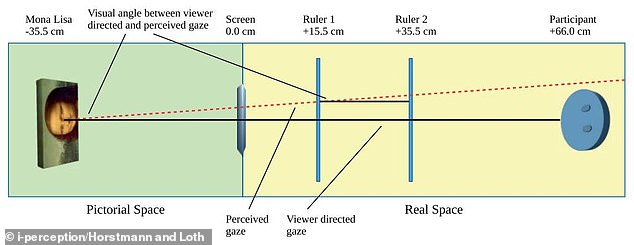 The red line  indicates Mona Lisa's objective line of gaze (dashed). Viewers judged Mona Lisa's gaze as directed to their right-hand side irrespectively of the image zoom, its horizontal position on screen, and the distance of the ruler that was used for measuring the gaze direction