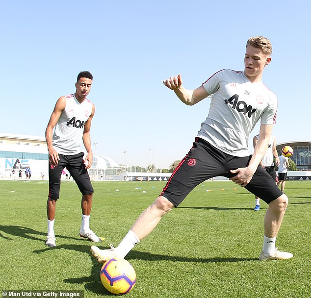 McTominay, who was part of the winning team in Wednesday's session, takes a touch