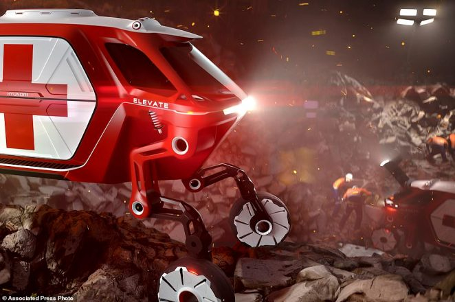 Hyundai showed off the Elevate walking car concept. The vehicle features robotic legs that can climb over debris and obstacles to reach people in an emergency or aftermath of a disaster
