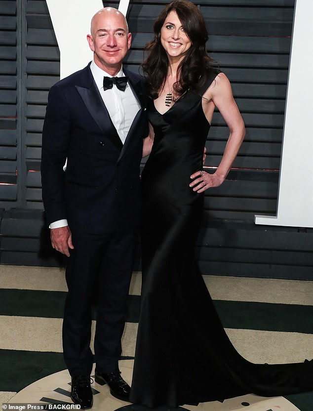 Jeff and MacKenzie Bezos are seen together at the Vanity Fair Oscaes 2017 party. A source close to the couple tells DailyMail.com that they had split up before they started to see Sanchez