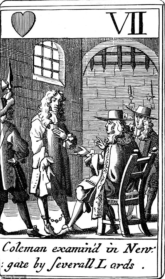 Edward Colman was convicted as part of the Popish Plot, a fake conspiracy put before the privy council by priest Titus Oates in 1678 (pictured). Oates, later dubbed 'Titus the Liar', claimed several Catholic men were plotting to kill the King, with Edward Colman among those named.