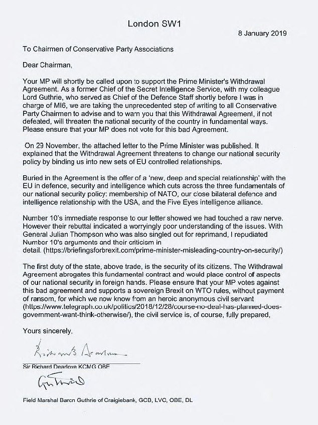 The letter (pictured) is a fresh blow to Mrs May's desperate attempts to win on Tuesday night with forecasts suggesting she is on the brink of the biggest ever Commons loss