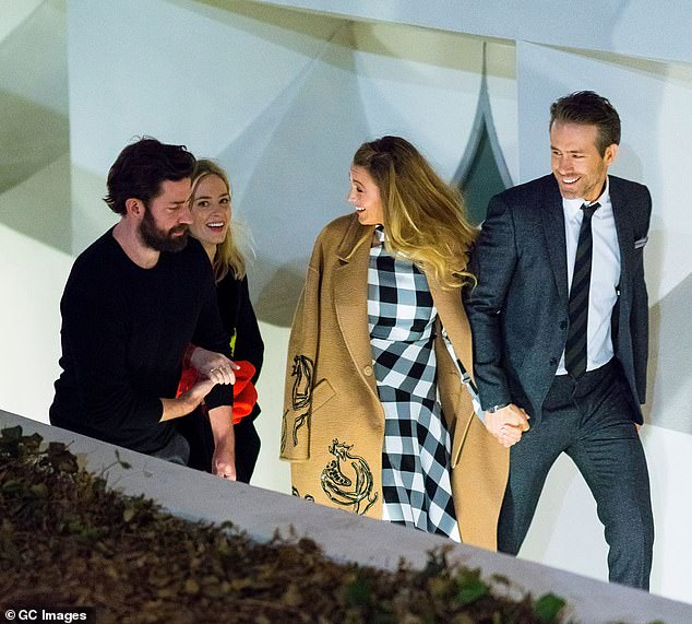 Double date: Blake and Ryan have been spotted out with the British-born star and her actor-screenwriter husband John Krasinski, 39, on multiple occasions (pictured in March 2018)