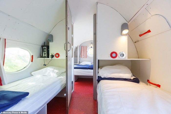 The other two guests can sleep on the to single beds provided.Holidaymakers can rent the plane on Airbnb and it has many five-star reviews