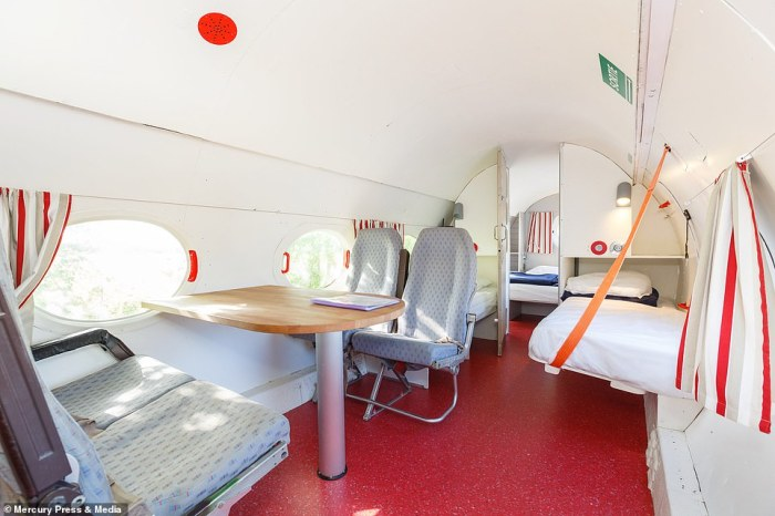 The old aircraft has also been fitted with air conditioning, heating, hot water and a tumble dryer to give it a truly 'homely' feeling