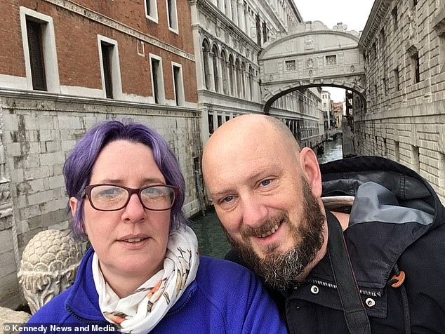 Matthew Blurton was left with a rotting foot after he was bitten by a bug on his big toe while volunteering in The Gambia in December 2017. Pictured before the ordeal with his girlfriend Katie Noble in Venice, he was saved after doctors used maggots to eat away his dead flesh