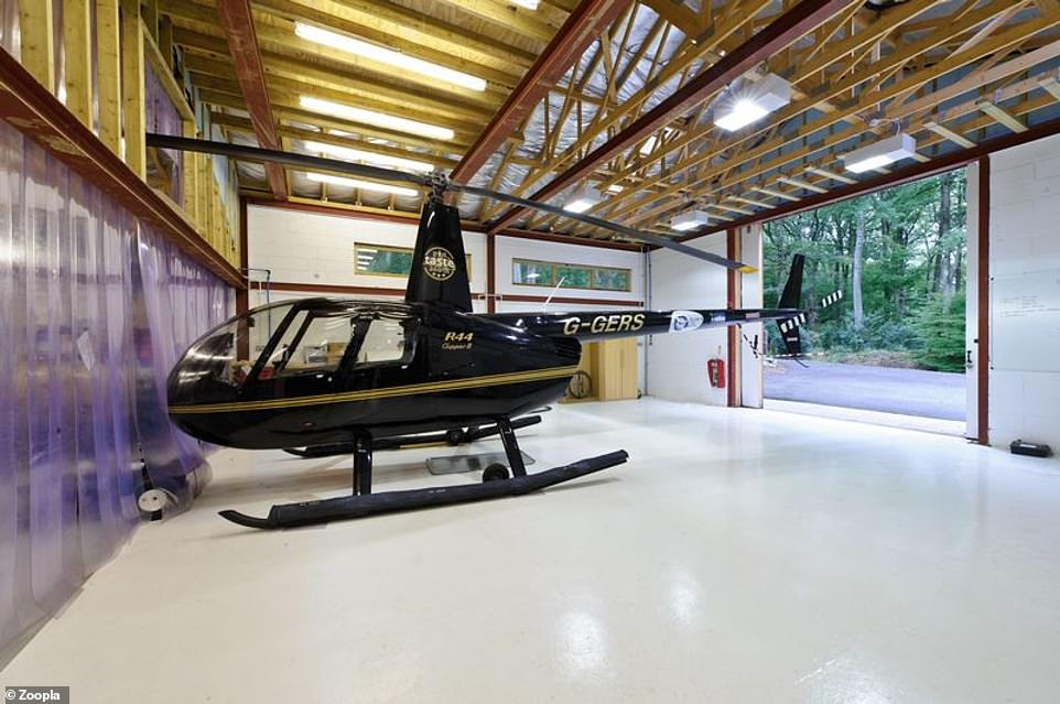 The generous helicopter hangar comes with lighting and has the luxury of being air-conditioned