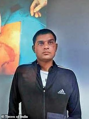 Yogendra Kumar (pictured after the ordeal) was seriously injured when a car accident cut his chest in two, leaving his left lung swelling and collapsing out of his body