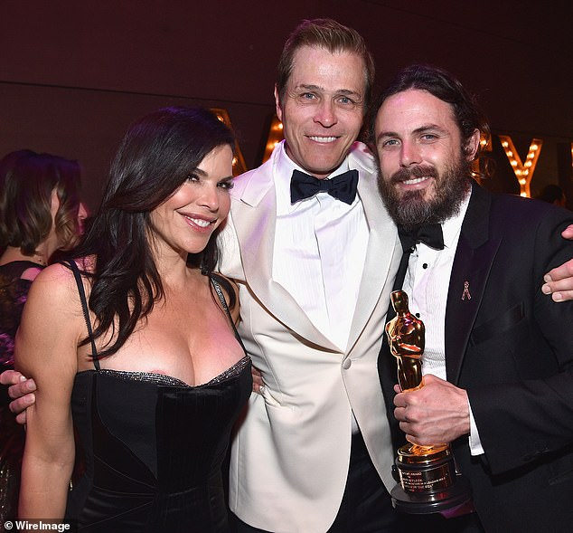 Sanchez and Whitesell are seen with the actor Casey Affleck at the Vanity Fair Oscar Party 2017. Affleck won for Manchester By The Sea - which was made by Amazon