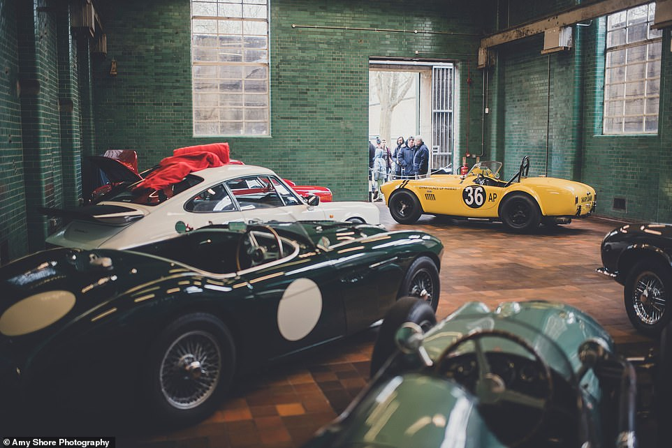 One of the specialists at Bicester Heritage is dealer Pendine, who has his showroom in the beautiful Blast House building - known for its powerful second exterior wall and interior tiling. Visitors on Sunday could see the Hairy Canary, a yellow AC Cobra from 1963 with race family