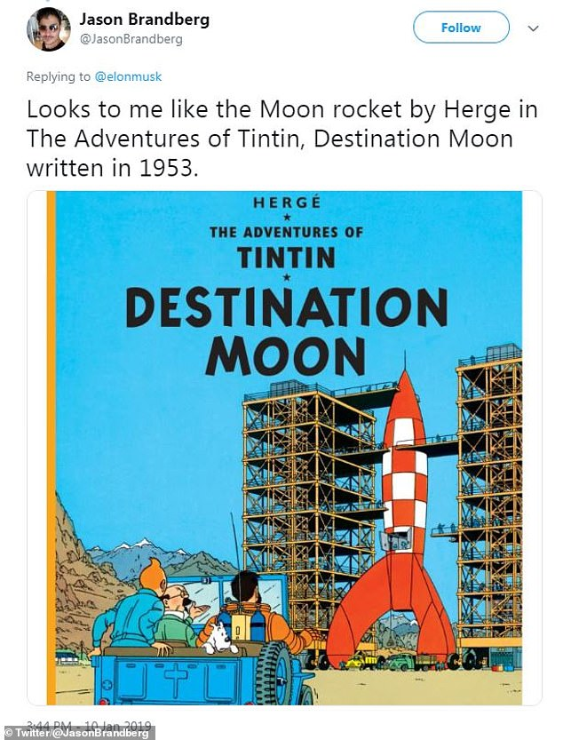 Twitter users pointed out the similarities of Musk's creation with the contraption Tintin used in the 1954 adventure 'Explorers on the Moon' (pictured)