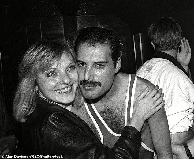 Mary Austin (left) and Freddie Mercury (right) at Freddie Mercury's 38th birthday party at Club Xenon After Queen's London leg of 'The Works' European tour at Wembley Arena