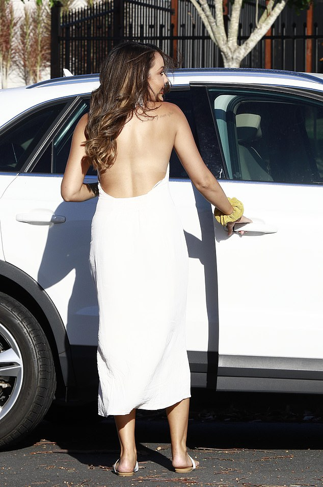 Looking good! She was later seen getting into her car, showing off her new caramel tresses