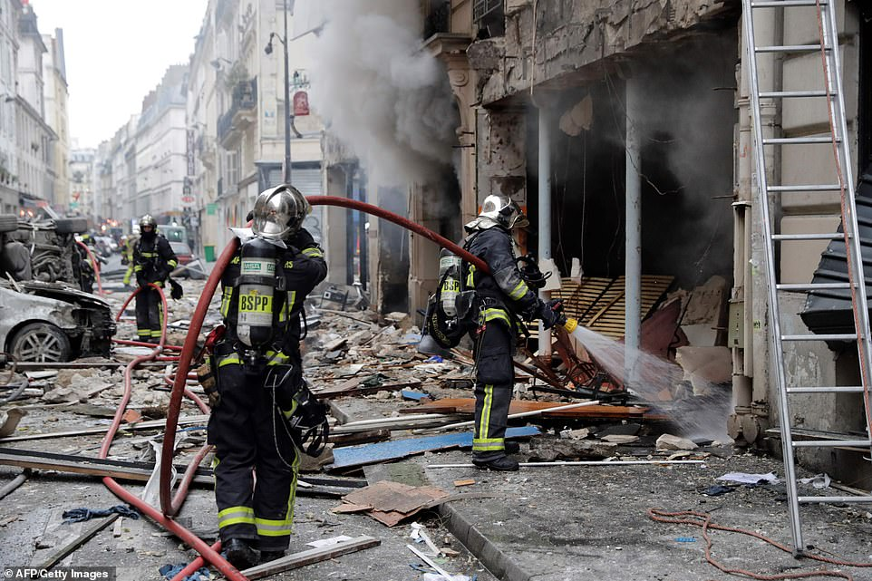 A large explosion badly damaged a bakery in central Paris, injuring several people and smashing windows in surrounding buildings, police. The fire broke out at around 9am today. Firefighters were on hand to tackle the flames before moving on to clearing the debris