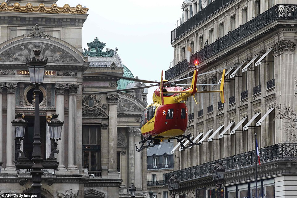 An air ambulance evacuated some of the more seriously injured survivors from the scene
