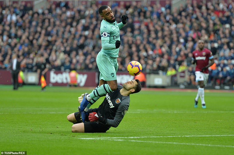 Alexandre Lacazette passed goalkeeper Lukasz Fabianski in the opening phase but there was no call for a penalty