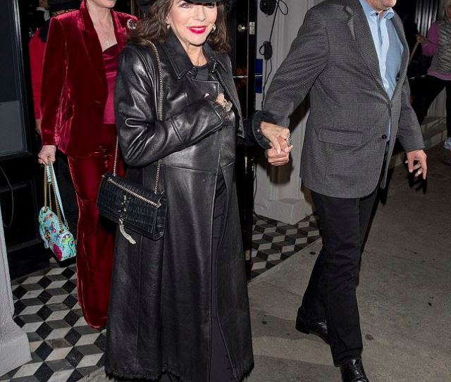 Smitten Joan Collins And Percy Gibson Looked Smitten As They Enjoyed A Dinner Date At