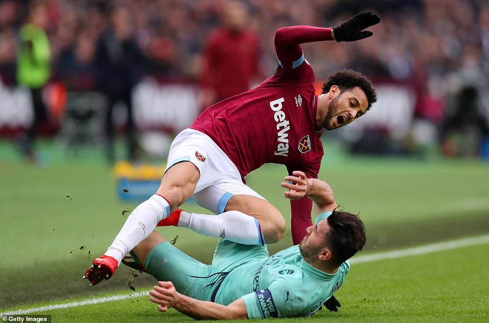 Sead Kolasinac collapsed every challenge during the game and later picked up a yellow card