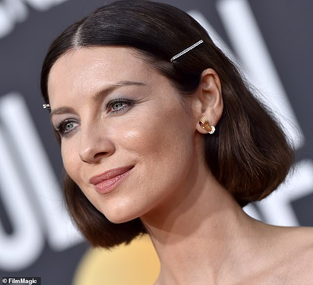 Another fan: Actress Caitriona Balfe sported two sleek slides on the red carpet at this year's Golden Globe Awards in Beverly Hills (as seen on the red carpet earlier this month)