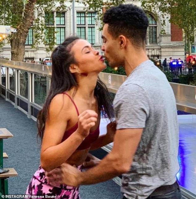 Pucker up: Vanessa's ex-boyfriend Louis shows a similarity to her skating partner Wes