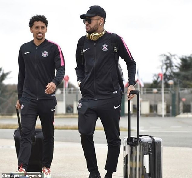 Neymar posted a picture of him traveling to the middle east, here with Marquinhos