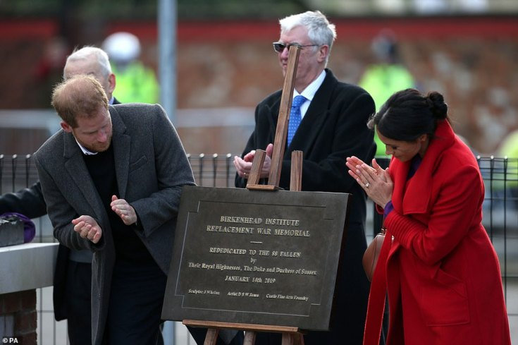 The couple unveil a plaque commemorating their visit.Their first stop was Birkenhead's Hamilton Square to view a new sculpture that was erected in November to mark the 100th anniversary of war poet Wilfred Owen's death