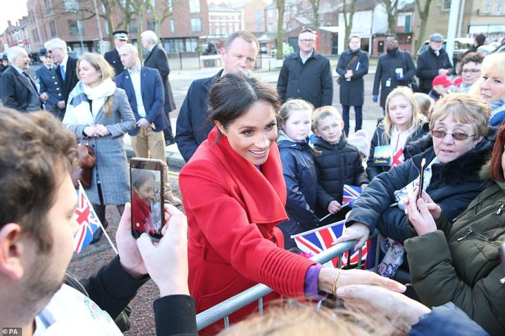 The Duchess of Sussex was in high spirits as she met with locals today.Pregnant Meghan, who is expecting her first child with Harry this spring, is continuing to keep a busy schedule packed with royal engagements as she nears her due date