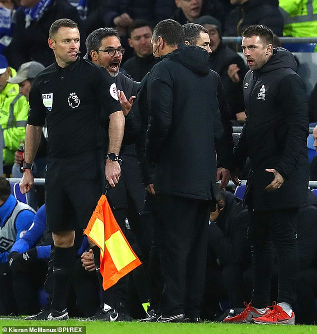 Wagner argues with the officials in his last game as Huddersfield manager on Saturday