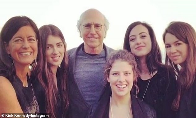 Surrounded by women: David has two daughters - Romy (R) and Cazzie (2-R), 27 - from his 14-year marriage to The Social Dilemma producer Laurie Lennard (L), which ended in 2007