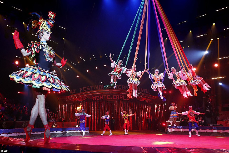 Artists fromthe Maslenitsa Ballet from Russia perform during the opening ceremony of the 43rd Monte-Carlo International Circus Festival in Monaco.According to tradition, an international jury under the presidency of Princess Stéphanie will honour the best acts of the Festival with the famous Golden, Silver and Bronze Clowns awards on the circus's closing night