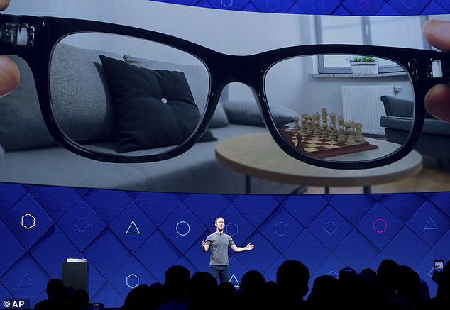 At Facebook's 2017 F8 conference, Zuckerberg teased the company's hopes of creating a pair of AR glasses. File photo
