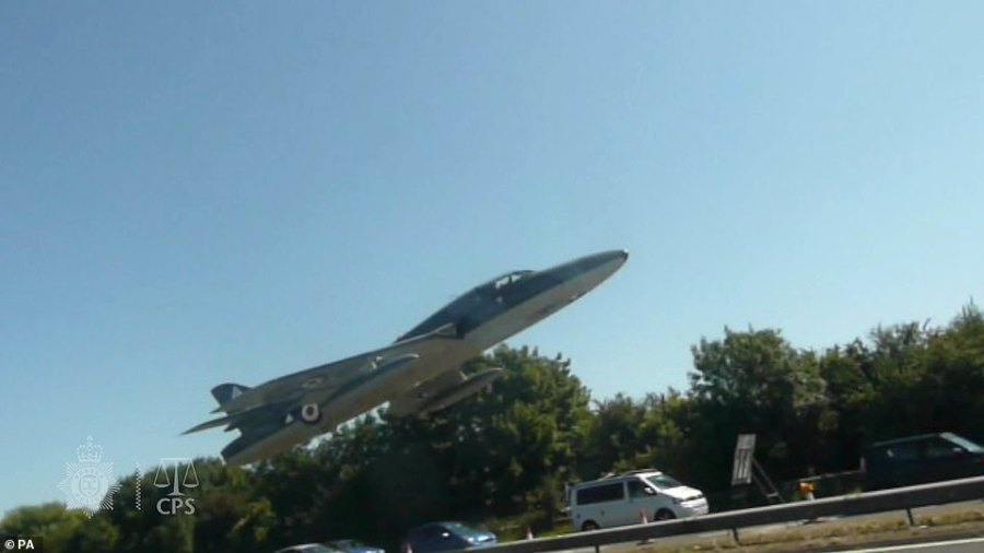 The jet is pictured seconds before it crashed into the dual carriageway in West Sussex, killing 11 people at the Shoreham Air Show in 2015