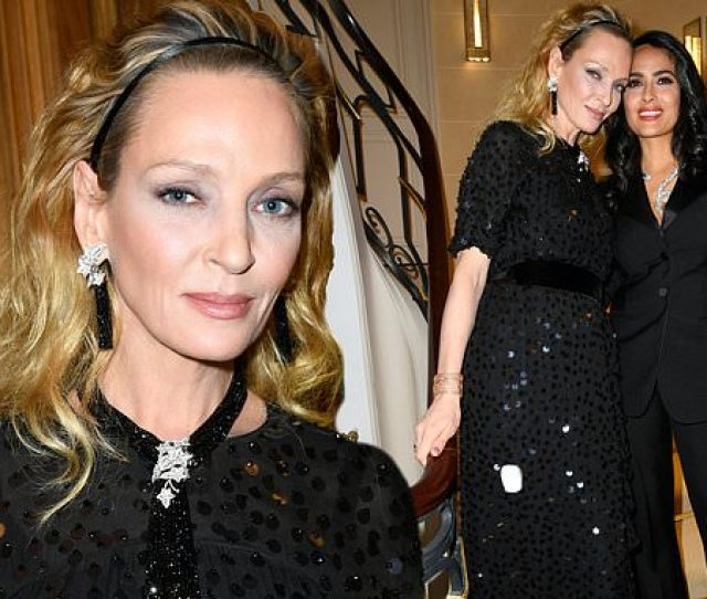 Uma Thurman Dazzles In A Sequinned Black Midi Dress As She Joins Salma Hayek At Cocktail Party Daily Mail Online