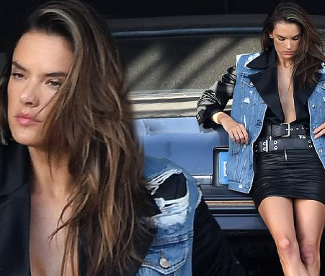 Alessandra Ambrosio Flaunts Her Legs In Leather Mini Skirt For Miami Photo Shoot Daily Mail Online